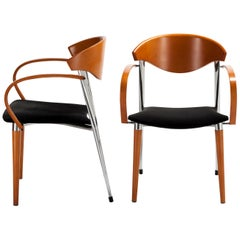 Paco Capdell, Pair of Side Chairs in Beech and Chrome, Late 1970s Design