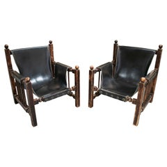 Paco Muñoz Designed Pair of Wood and Leather Armchairs