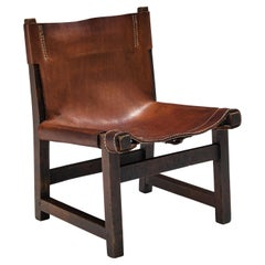 Paco Muñoz for Darro 'Riaza' Lounge Chair in Patinated Leather