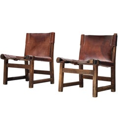 Paco Muñoz for Darro 'Riaza' Lounge Chairs in Patinated Leather
