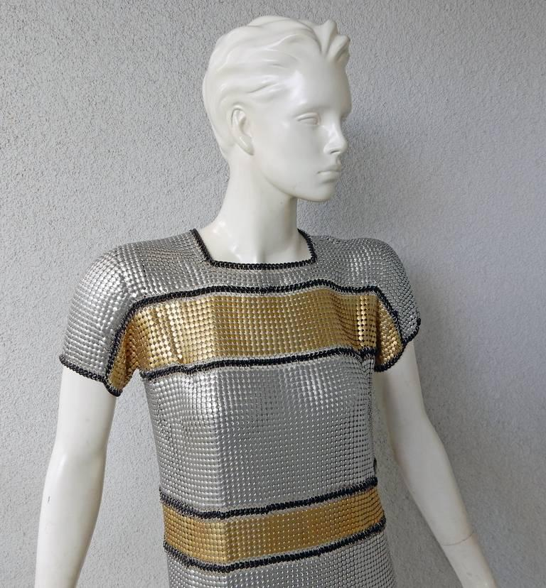 Paco Rabanne 60's Inspired Modern Version of Brigitte Bardot Chain Mail Dress  For Sale 1