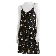 Paco Rabanne Black Floral Embroidered Chain Straps Slip Dress - Size US 8