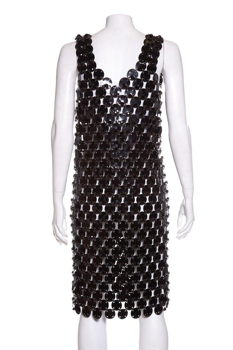 PACO RABANNE  Black Rhodoid Dress SZ 10 In Excellent Condition For Sale In Scottsdale, AZ