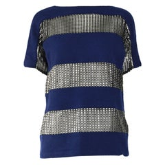 Paco Rabanne Blue & Silver Wool Party Top