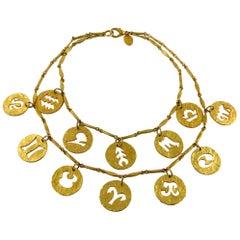 Paco Rabanne by Maison Desrues Vintage 1990s Zodiac Necklace