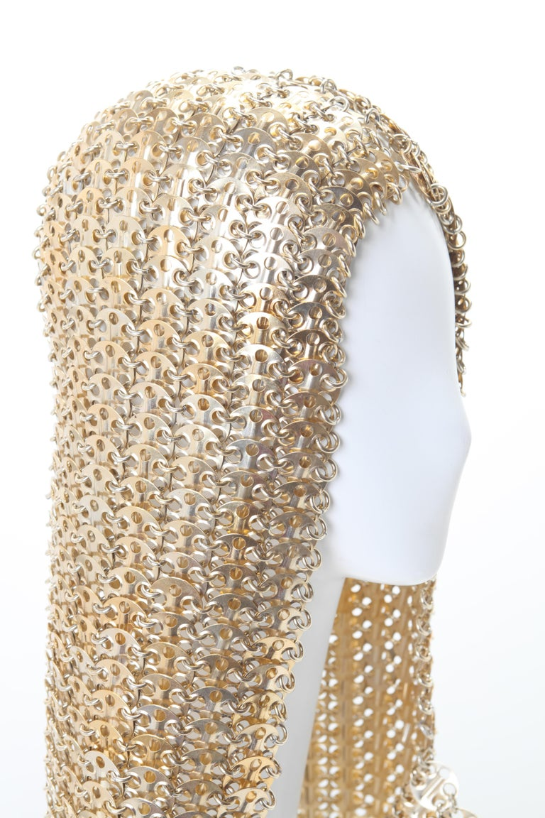 Paco Rabanne Chainmail Hood Rare c. 1960s In Good Condition For Sale In New York, NY