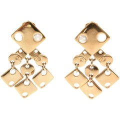 Paco Rabanne Geometric Gold Plated Brass Earrings 60's Signed