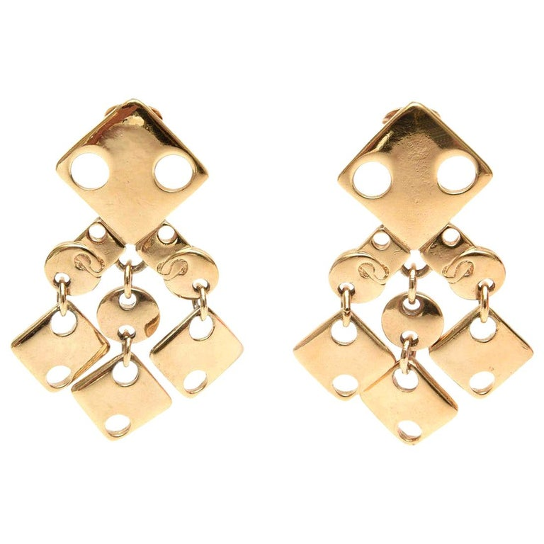 Paco Rabanne Geometric Gold Plated Modernist Brass Earrings 60's Signed For Sale