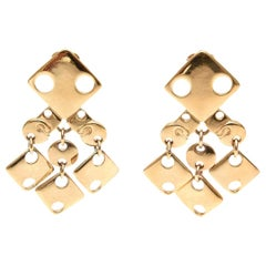 Paco Rabanne Geometric Gold Plated Modernist Brass Earrings 60's Signed