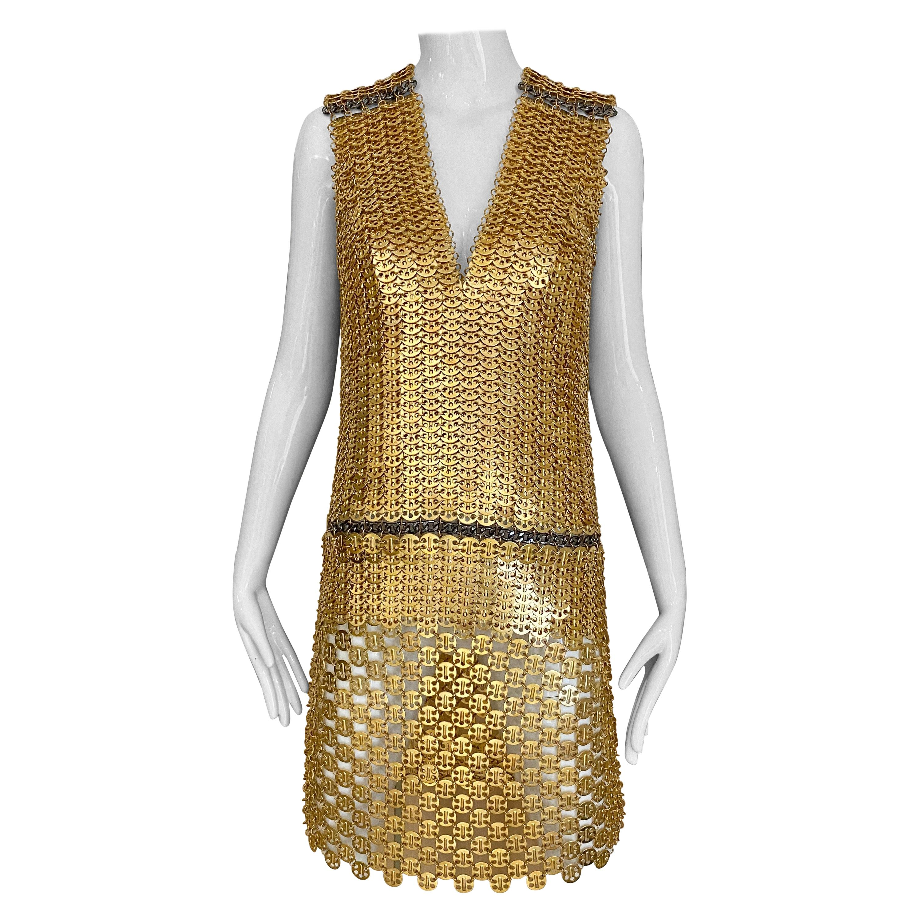 Paco Rabanne Gold Chain Cocktail Dress