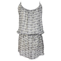 Paco Rabanne Gray Beige Short Floral Dress