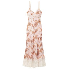 Paco Rabanne Lace Trimmed Paisley Print Satin Maxi Dress