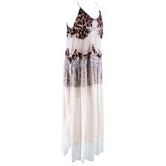 Paco Rabanne Leopard Print Satin & Lace Slip Dress - Size US 8