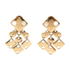 Paco Rabanne Sculptural Cut Out Geometric Gold Plated Brass Earrings 60's Signed
