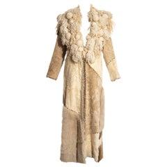 Paco Rabanne sheepskin, goat and pony hair patchwork coat, fw 2002
