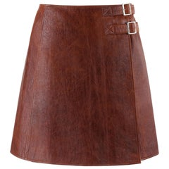 PACO RABANNE Sienna Brown Lamb Leather Dual Buckle A-Line Wrap Skirt