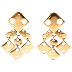 Paco Rabanne Signed Geometric Gold Plated Modernist Brass Earrings 60's