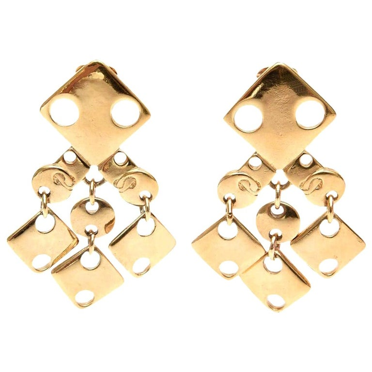 Paco Rabanne Signed Geometric Gold Plated Modernist Brass Earrings 60's For Sale