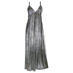 Paco Rabanne Silver Foil Grid Maxi Dress