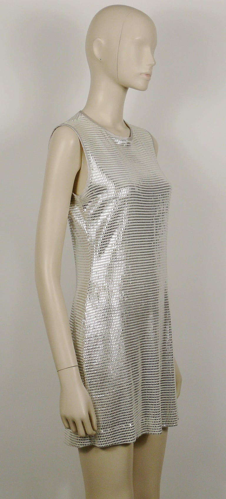 Paco Rabanne Silver Foil Grid Mini Dress US Size 8 In Good Condition For Sale In Nice, FR