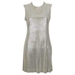 Paco Rabanne Silver Foil Grid Mini Dress US Size 8