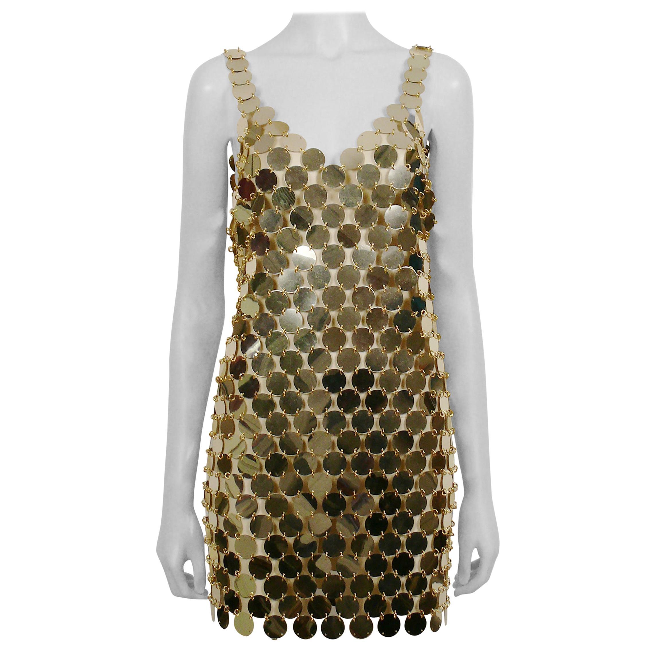 Paco Rabanne Vintage 1996 Gold Rhodoid Disc Do It Yourself Mini Dress