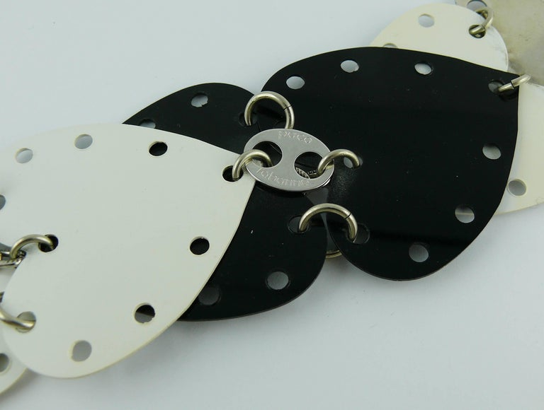 Paco Rabanne Vintage Black and White Rhodoid Heart Belt For Sale 11