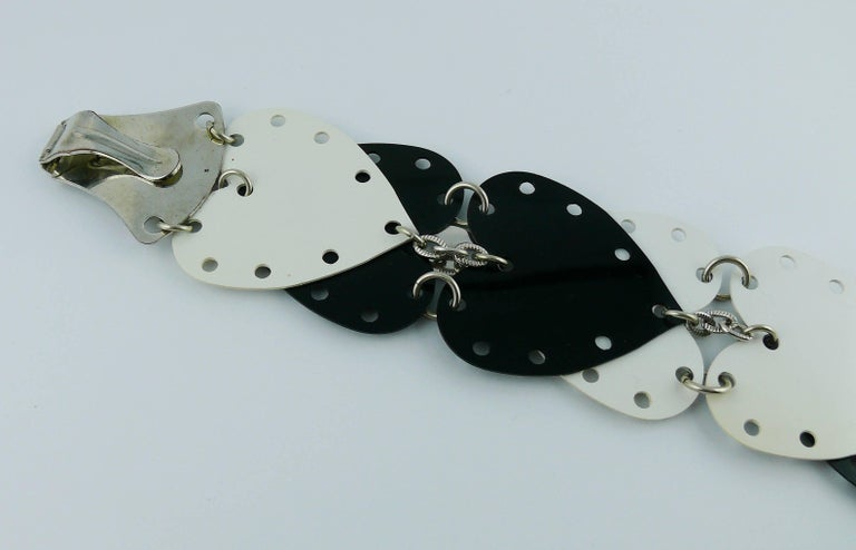 Gray Paco Rabanne Vintage Black and White Rhodoid Heart Belt For Sale