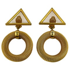 Paco Rabanne Vintage Gold Toned Geometric Dangling Earrings