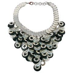 Paco Rabanne Vintage Rhodoid and Metal Discs Necklace
