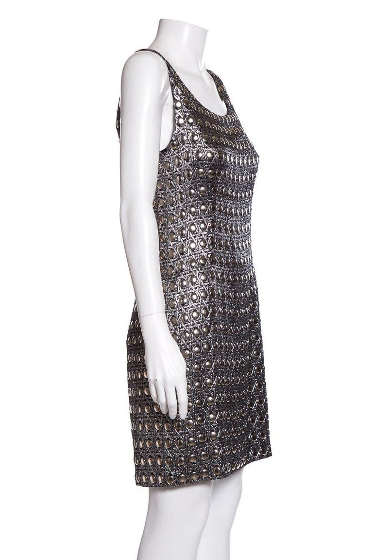 Black PACO RABANNE  Vintage Silver Shift Dress SZ 6 For Sale