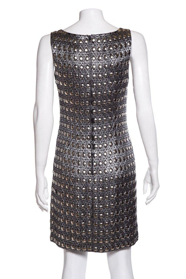 PACO RABANNE  Vintage Silver Shift Dress SZ 6 In Good Condition For Sale In Scottsdale, AZ