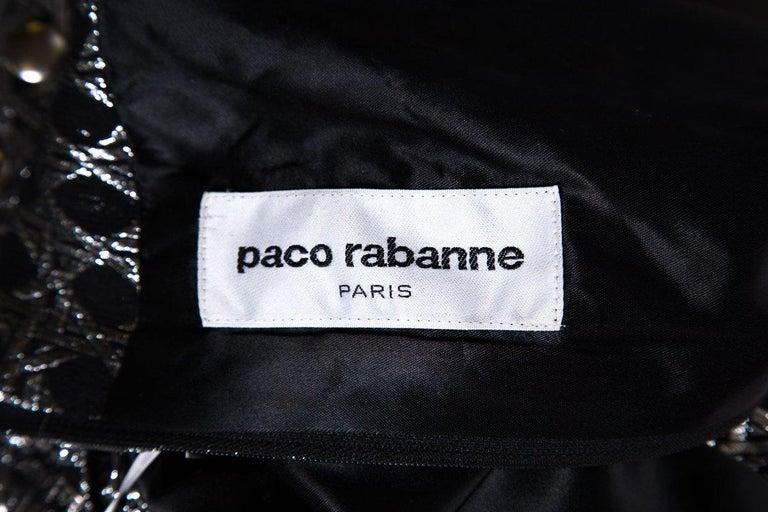 PACO RABANNE  Vintage Silver Shift Dress SZ 6 For Sale 2