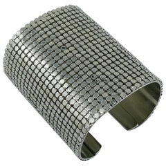 Paco Rabanne Wide Silver Toned Disco Bracelet Cuff