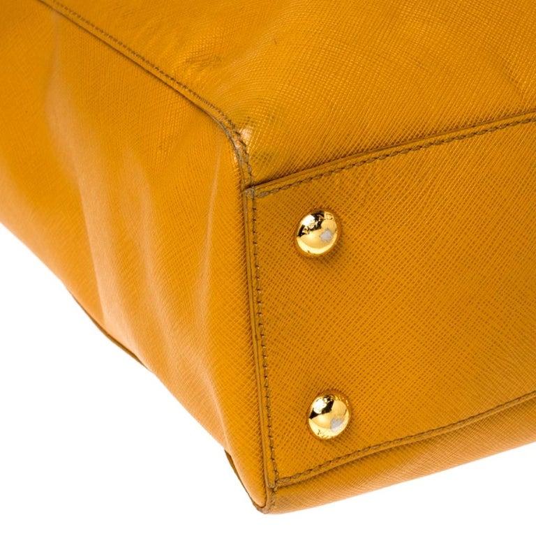 Pada Orange Saffiano Leather Convertible Open Tote 6