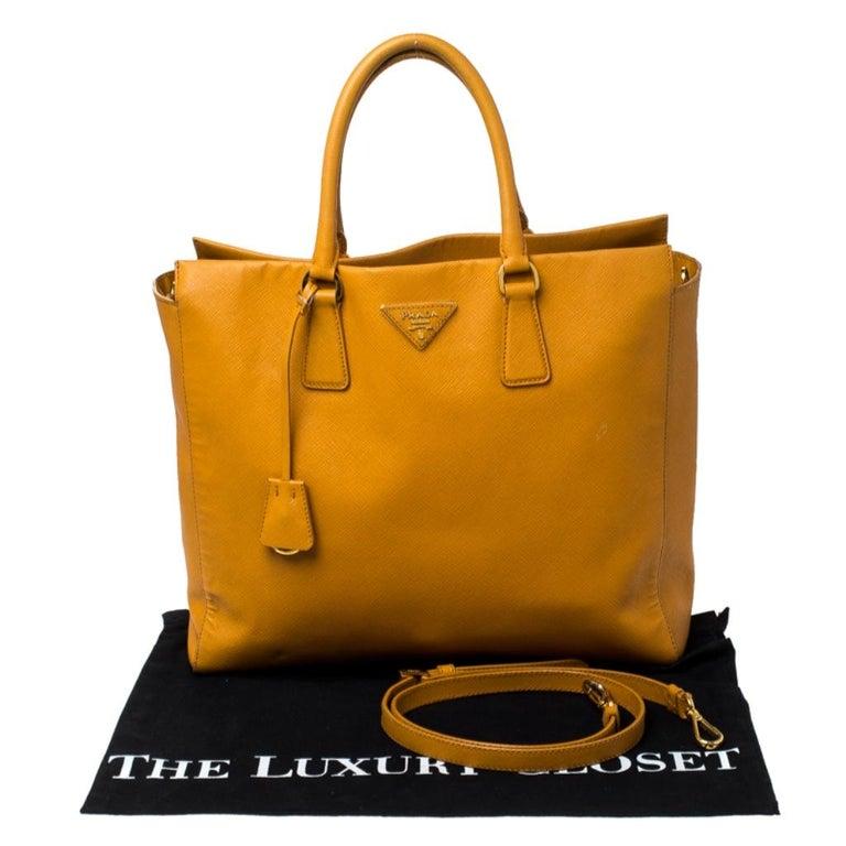 Pada Orange Saffiano Leather Convertible Open Tote 7