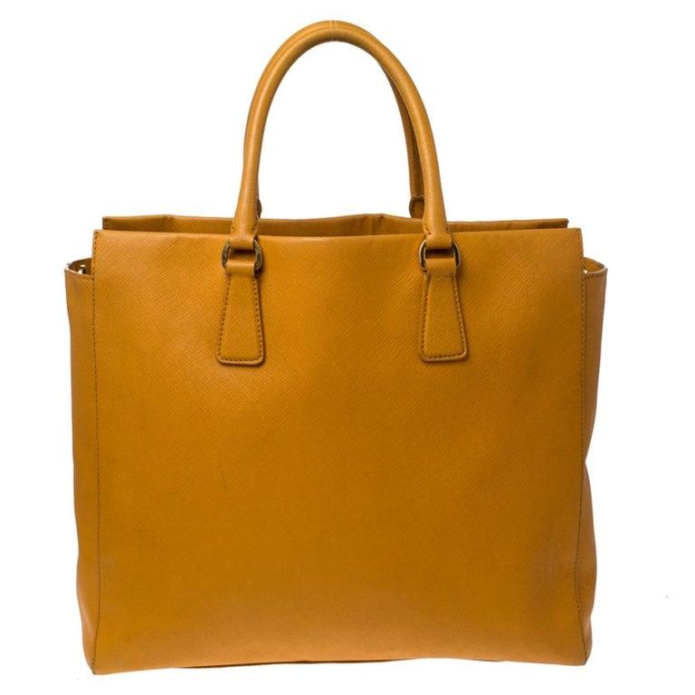 Pada Orange Saffiano Leather Convertible Open Tote In Fair Condition In Dubai, Al Qouz 2