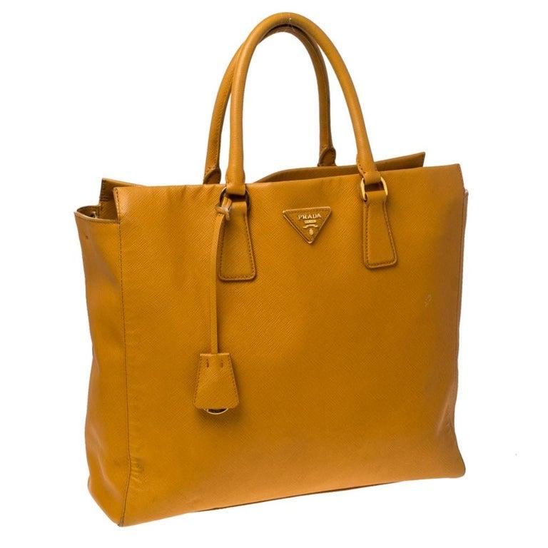 Women's Pada Orange Saffiano Leather Convertible Open Tote