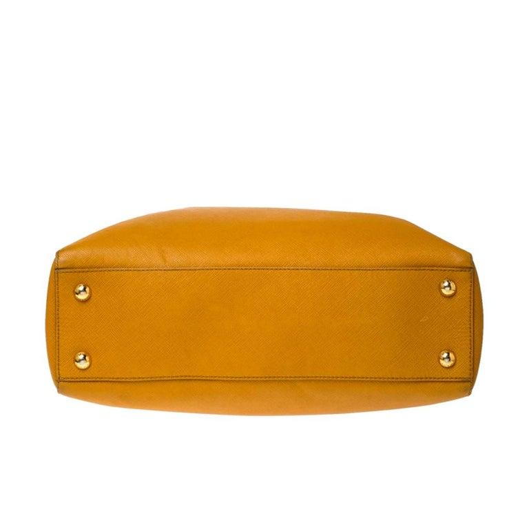 Pada Orange Saffiano Leather Convertible Open Tote 1