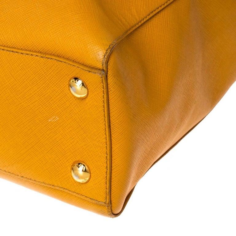 Pada Orange Saffiano Leather Convertible Open Tote 3