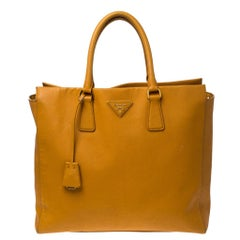 Pada Orange Saffiano Leather Convertible Open Tote