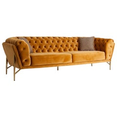 Padded Orange Velvet and Brass Metal Feet Sofa