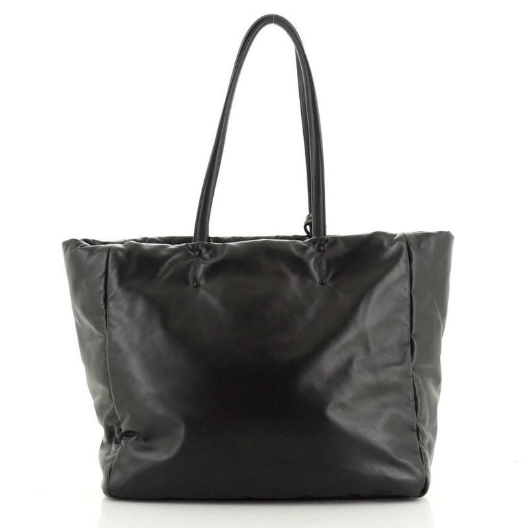 Black Padded Shopping Tote Nappa Leather Medium