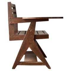 Pierre Jeanneret Paddle Arm Student Chair in Wood