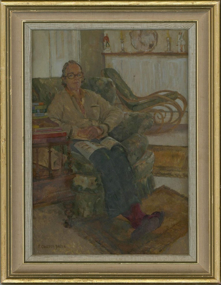An impressive pair of 20th century British oil paintings showing two seated women by Art Workers Guild member Paddy Curzon-Price. The comfortability with which both women are positioned in their domestic settings shows Curzon-Price's ability to make