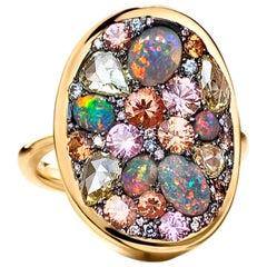 Padparadscha Sapphire Black Lightning Ridge Opal, Pink & Blue Diamond Pave Ring