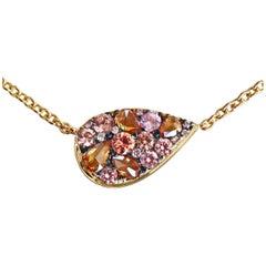 Padparadscha sapphire Cognac Rose-Cut & Pink Diamond Mosaic Pendant Necklace