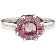 Padparadscha Sapphire-Colored No-Heat Spinel Engagement or Fashion Ring