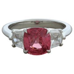 Padparadscha Sapphire Diamond 3-Stone Platinum Ring, GIA Certified