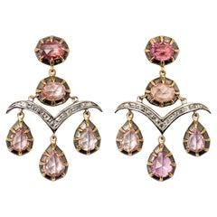 Padparadscha Sapphire, Diamond and 18 Karat Gold Ear Pendants